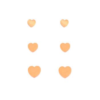 گوشواره زنانه طرح قلب کد GO1259 مجموعه 3 عددی