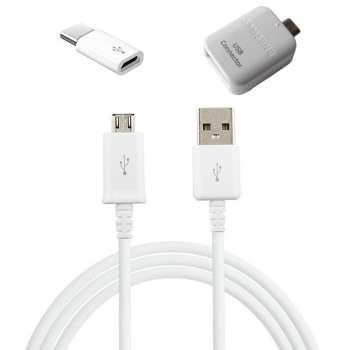 کابل تبدیل USB به microUSB مدل EP-DG925UWE طول 1.5 متر به همراه مبدل OTG microUSB و microUSB به USB-C