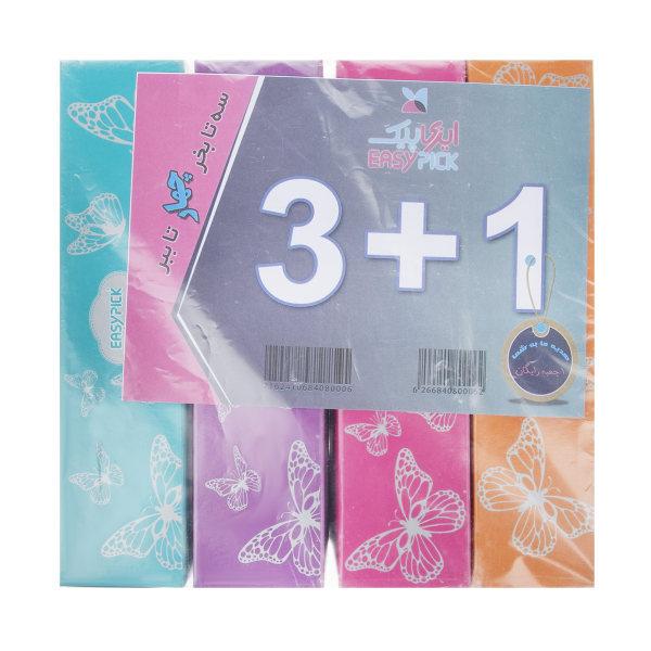 دستمال کاغذی 100 برگ دو لایه ایزی پیک مدل Butterfly بسته 4 عددی