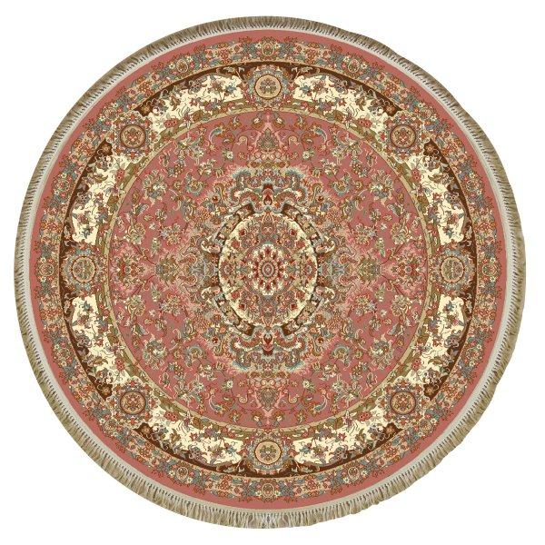 فرش ماشینی فرش ابریشمی کرامتیان مدل رویال زمینه گلبهی