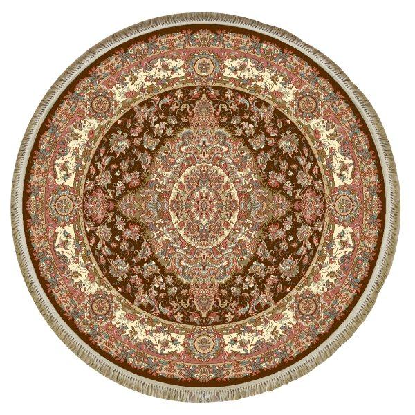 فرش ماشینی فرش ابریشمی کرامتیان مدل رویال زمینه قهوه ای