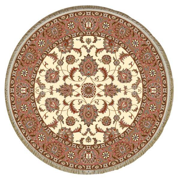 فرش ماشینی فرش ابریشمی کرامتیان مدل تبریز زمینه کرم