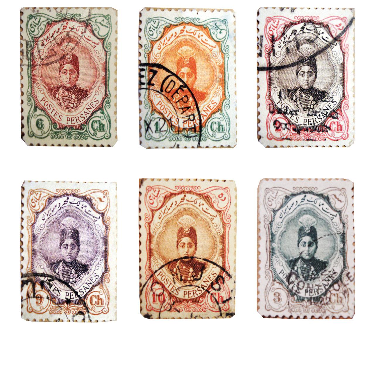 تمبر یادگاری سری قاجار مدل احمدی کوچک مجموعه 6 عددی