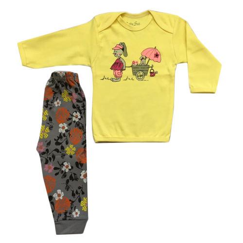 ست تی شرت و شلوار نوزادی دخترانه طرح خرگوش کد 400