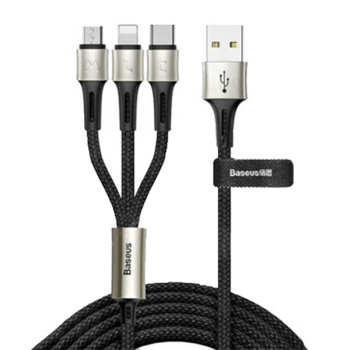 کابل تبدیل USB به لایتنینگ/USB-C/microUSB  باسئوس مدل BS-01 طول 1.2 متر